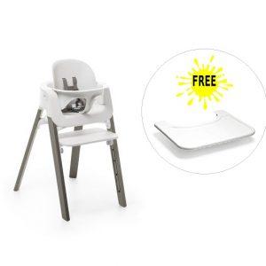 Pachet Stokke Steps – scaun de masa + baby set (tavita gratuita)